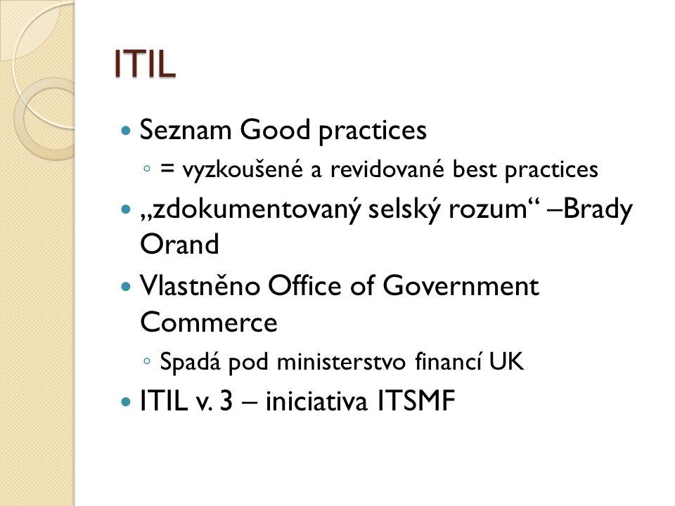 """ITIL Seznam Good practices ◦ = vyzkoušené a revidované best practices """"zdokumentovaný selský rozum –Brady Orand Vlastněno Office of Government Commerce ◦ Spadá pod ministerstvo financí UK ITIL v."""