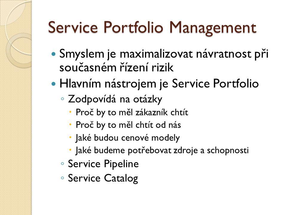 Service Portfolio Management Smyslem je maximalizovat návratnost při současném řízení rizik Hlavním nástrojem je Service Portfolio ◦ Zodpovídá na otázky  Proč by to měl zákazník chtít  Proč by to měl chtít od nás  Jaké budou cenové modely  Jaké budeme potřebovat zdroje a schopnosti ◦ Service Pipeline ◦ Service Catalog