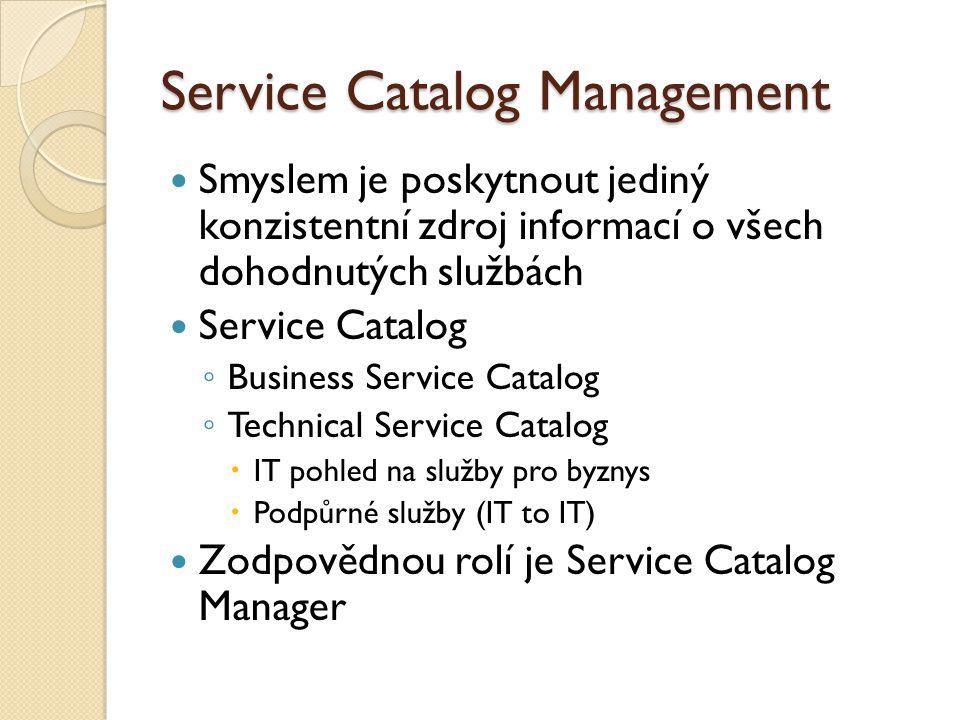 Service Catalog Management Smyslem je poskytnout jediný konzistentní zdroj informací o všech dohodnutých službách Service Catalog ◦ Business Service Catalog ◦ Technical Service Catalog  IT pohled na služby pro byznys  Podpůrné služby (IT to IT) Zodpovědnou rolí je Service Catalog Manager