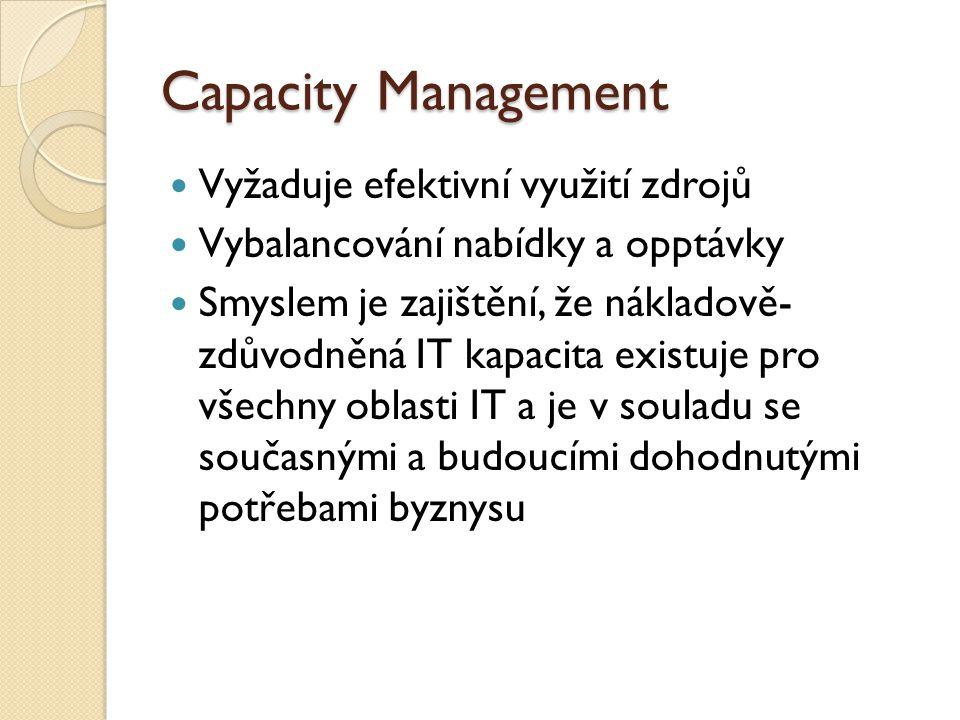 Capacity Management Vyžaduje efektivní využití zdrojů Vybalancování nabídky a opptávky Smyslem je zajištění, že nákladově- zdůvodněná IT kapacita existuje pro všechny oblasti IT a je v souladu se současnými a budoucími dohodnutými potřebami byznysu