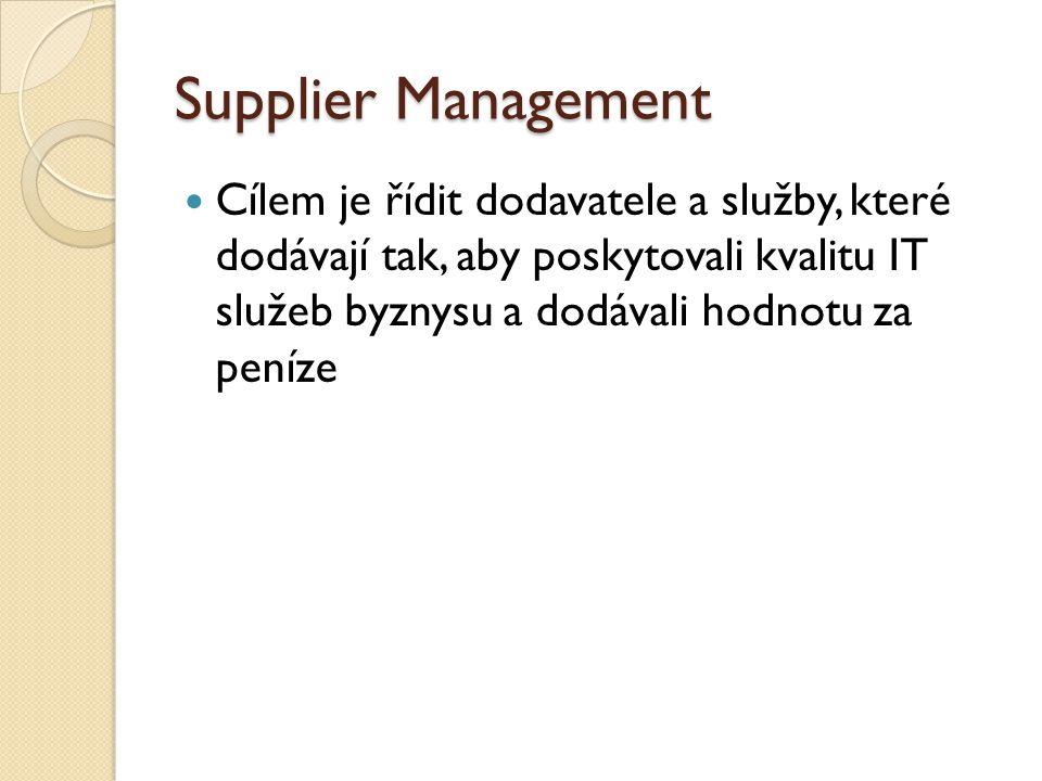 Supplier Management Cílem je řídit dodavatele a služby, které dodávají tak, aby poskytovali kvalitu IT služeb byznysu a dodávali hodnotu za peníze