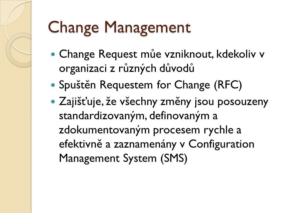 Change Management Change Request můe vzniknout, kdekoliv v organizaci z různých důvodů Spuštěn Requestem for Change (RFC) Zajišťuje, že všechny změny jsou posouzeny standardizovaným, definovaným a zdokumentovaným procesem rychle a efektivně a zaznamenány v Configuration Management System (SMS)
