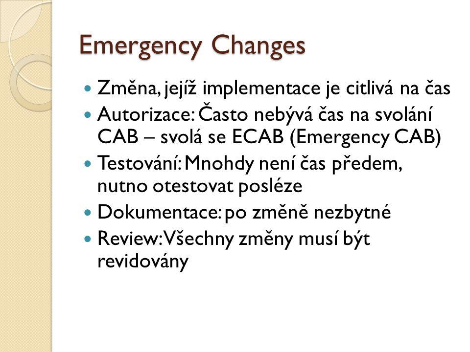 Emergency Changes Změna, jejíž implementace je citlivá na čas Autorizace: Často nebývá čas na svolání CAB – svolá se ECAB (Emergency CAB) Testování: Mnohdy není čas předem, nutno otestovat posléze Dokumentace: po změně nezbytné Review: Všechny změny musí být revidovány