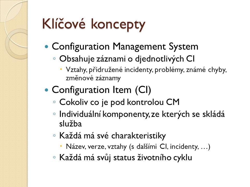 Klíčové koncepty Configuration Management System ◦ Obsahuje záznami o djednotlivých CI  Vztahy, přidružené incidenty, problémy, známé chyby, změnové záznamy Configuration Item (CI) ◦ Cokoliv co je pod kontrolou CM ◦ Individuální komponenty, ze kterých se skládá služba ◦ Každá má své charakteristiky  Název, verze, vztahy (s dalšími CI, incidenty, …) ◦ Každá má svůj status životního cyklu