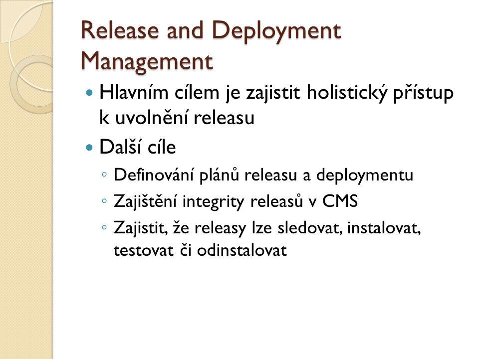 Release and Deployment Management Hlavním cílem je zajistit holistický přístup k uvolnění releasu Další cíle ◦ Definování plánů releasu a deploymentu ◦ Zajištění integrity releasů v CMS ◦ Zajistit, že releasy lze sledovat, instalovat, testovat či odinstalovat