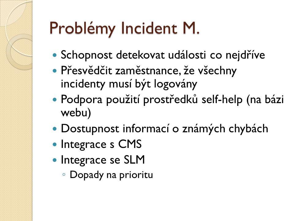 Problémy Incident M. Schopnost detekovat události co nejdříve Přesvědčit zaměstnance, že všechny incidenty musí být logovány Podpora použití prostředk
