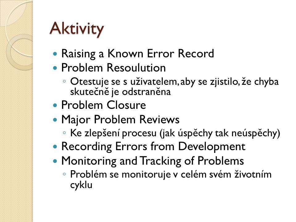 Aktivity Raising a Known Error Record Problem Resoulution ◦ Otestuje se s uživatelem, aby se zjistilo, že chyba skutečně je odstraněna Problem Closure Major Problem Reviews ◦ Ke zlepšení procesu (jak úspěchy tak neúspěchy) Recording Errors from Development Monitoring and Tracking of Problems ◦ Problém se monitoruje v celém svém životním cyklu