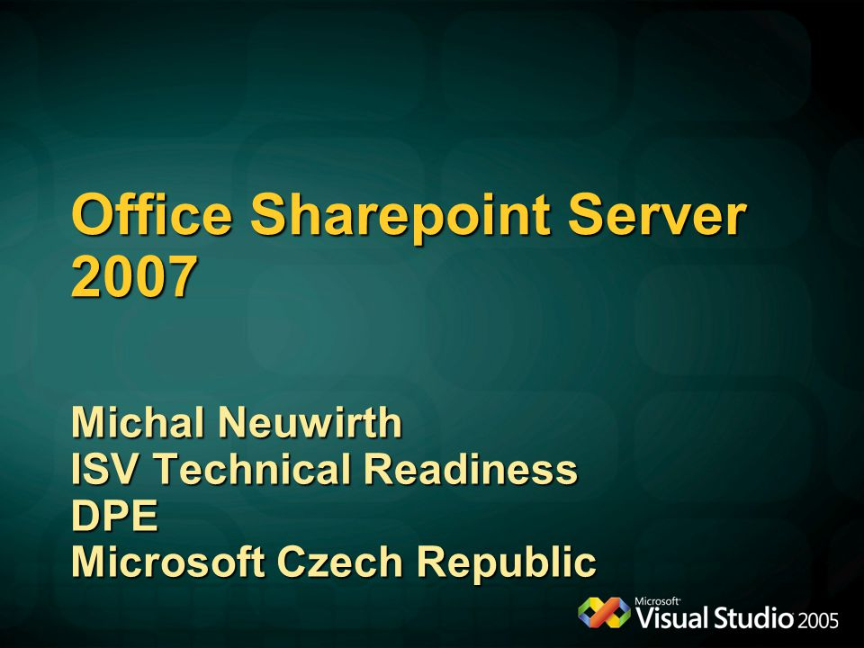 Excel services Michal Neuwirth DPE Group Microsoft Czech