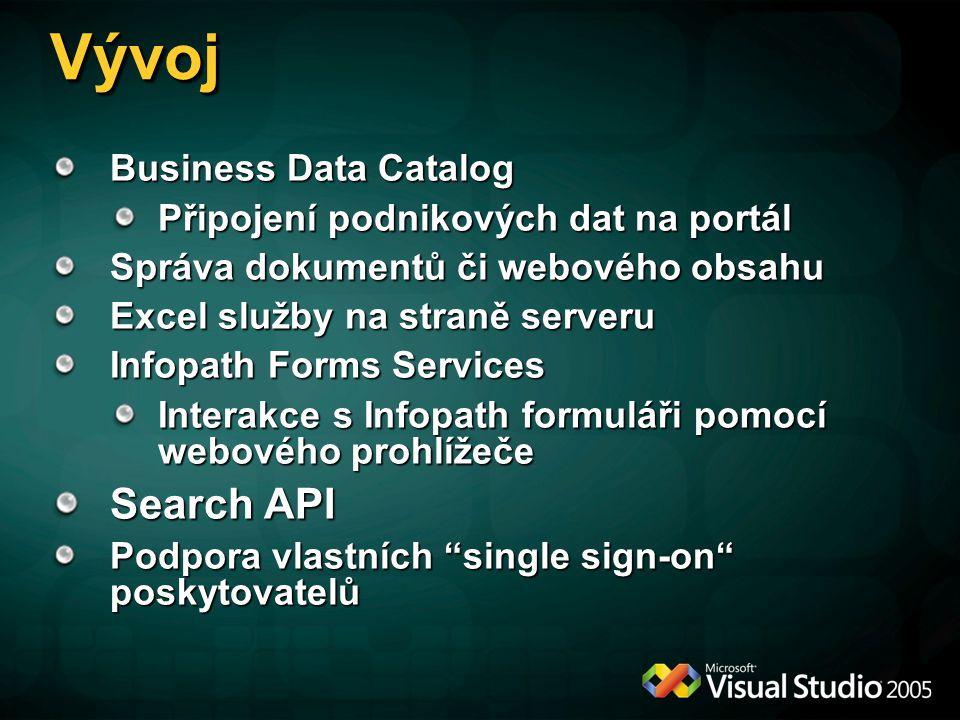 VývojVývoj Business Data Catalog Připojení podnikových dat na portál Správa dokumentů či webového obsahu Excel služby na straně serveru Infopath Forms Services Interakce s Infopath formuláři pomocí webového prohlížeče Search API Podpora vlastních single sign-on poskytovatelů
