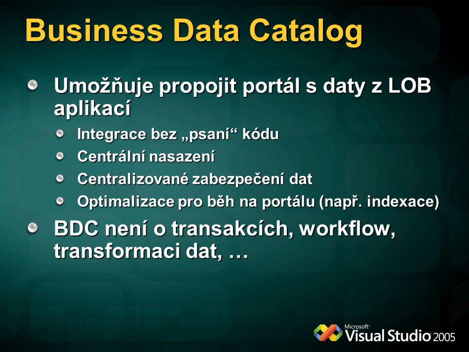 """Business Data Catalog Umožňuje propojit portál s daty z LOB aplikací Integrace bez """"psaní kódu Centrální nasazení Centralizované zabezpečení dat Optimalizace pro běh na portálu (např."""