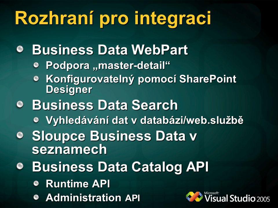 """Rozhraní pro integraci Business Data WebPart Podpora """"master-detail Konfigurovatelný pomocí SharePoint Designer Business Data Search Vyhledávání dat v databázi/web.službě Sloupce Business Data v seznamech Business Data Catalog API Runtime API Administration API"""