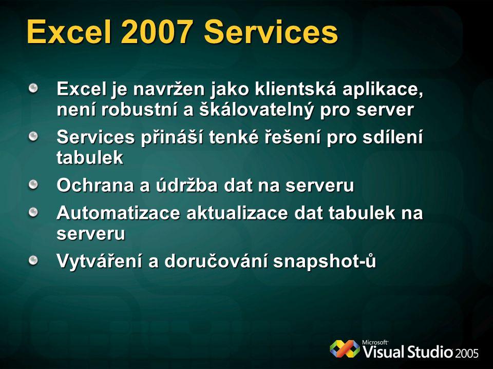 Excel 2007 Services Excel je navržen jako klientská aplikace, není robustní a škálovatelný pro server Services přináší tenké řešení pro sdílení tabulek Ochrana a údržba dat na serveru Automatizace aktualizace dat tabulek na serveru Vytváření a doručování snapshot-ů