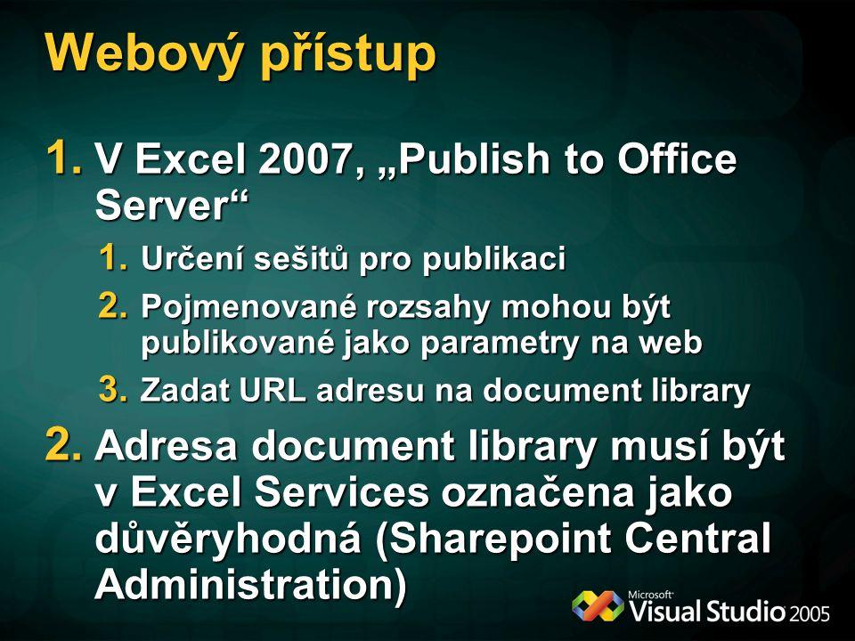 """Webový přístup 1.V Excel 2007, """"Publish to Office Server 1."""