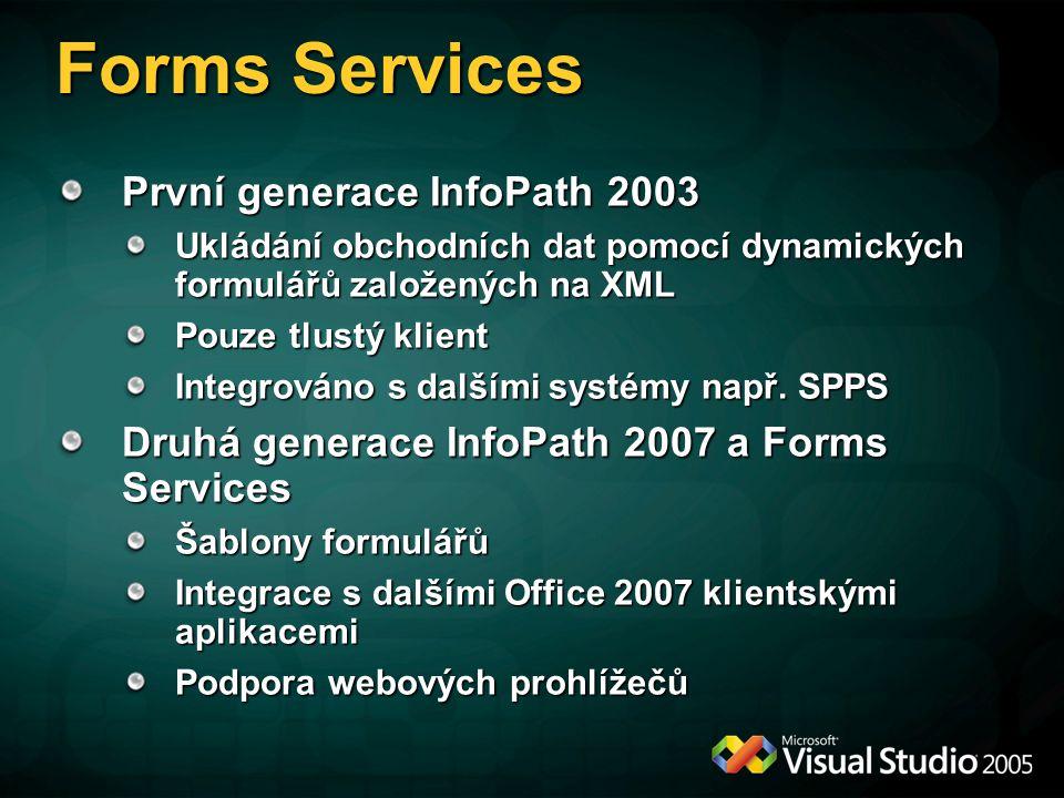 Forms Services První generace InfoPath 2003 Ukládání obchodních dat pomocí dynamických formulářů založených na XML Pouze tlustý klient Integrováno s dalšími systémy např.