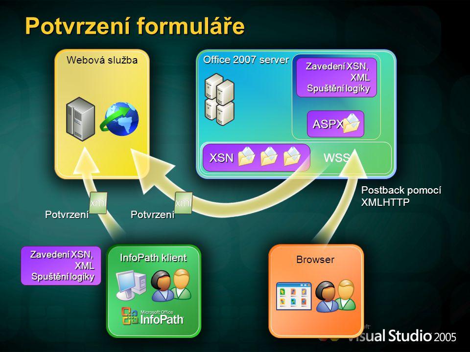 Webová služba WSS WSS Office 2007 server XSN ASPX Zavedení XSN, XML Spuštění logiky Potvrzení formuláře Postback pomocí XMLHTTP Potvrzení Browser InfoPath klient Potvrzení Zavedení XSN, XML Spuštění logiky