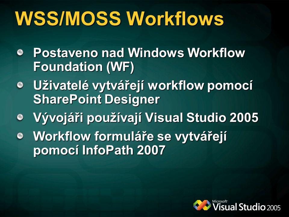 WSS/MOSS Workflows Postaveno nad Windows Workflow Foundation (WF) Uživatelé vytvářejí workflow pomocí SharePoint Designer Vývojáři používají Visual Studio 2005 Workflow formuláře se vytvářejí pomocí InfoPath 2007