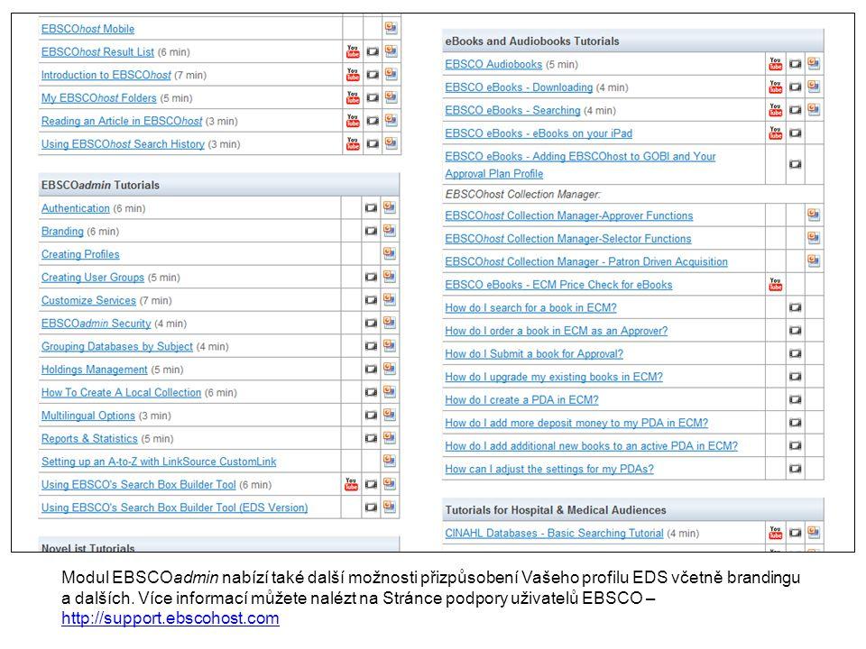 Modul EBSCOadmin nabízí také další možnosti přizpůsobení Vašeho profilu EDS včetně brandingu a dalších.