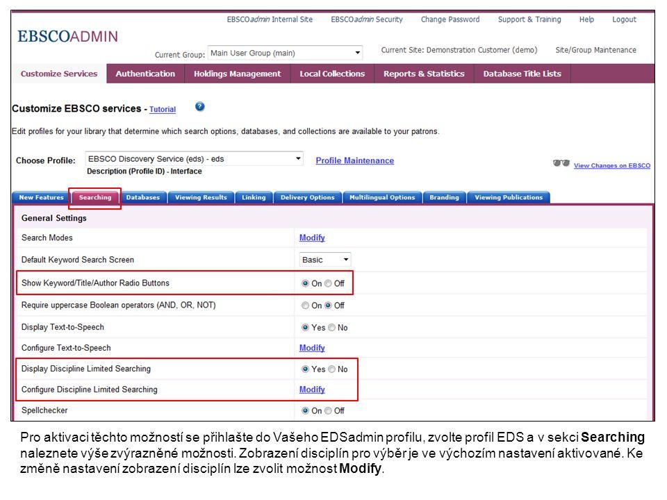 Kdykoliv při využívání modulu EBSCOadmin můžete také kliknout na odkaz Help v pravém horním rohu okna pro zobrazení témat nápovědy.