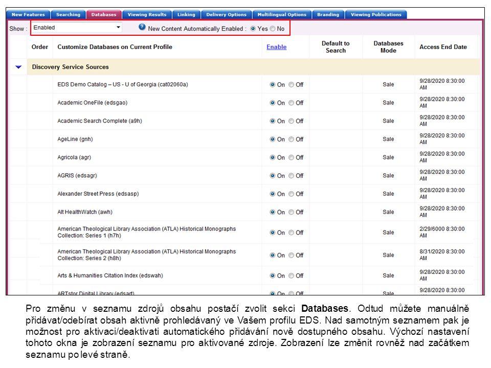 Obsah indexovaný v EDS indexu je klíčovým prvkem celé Discovery služby.