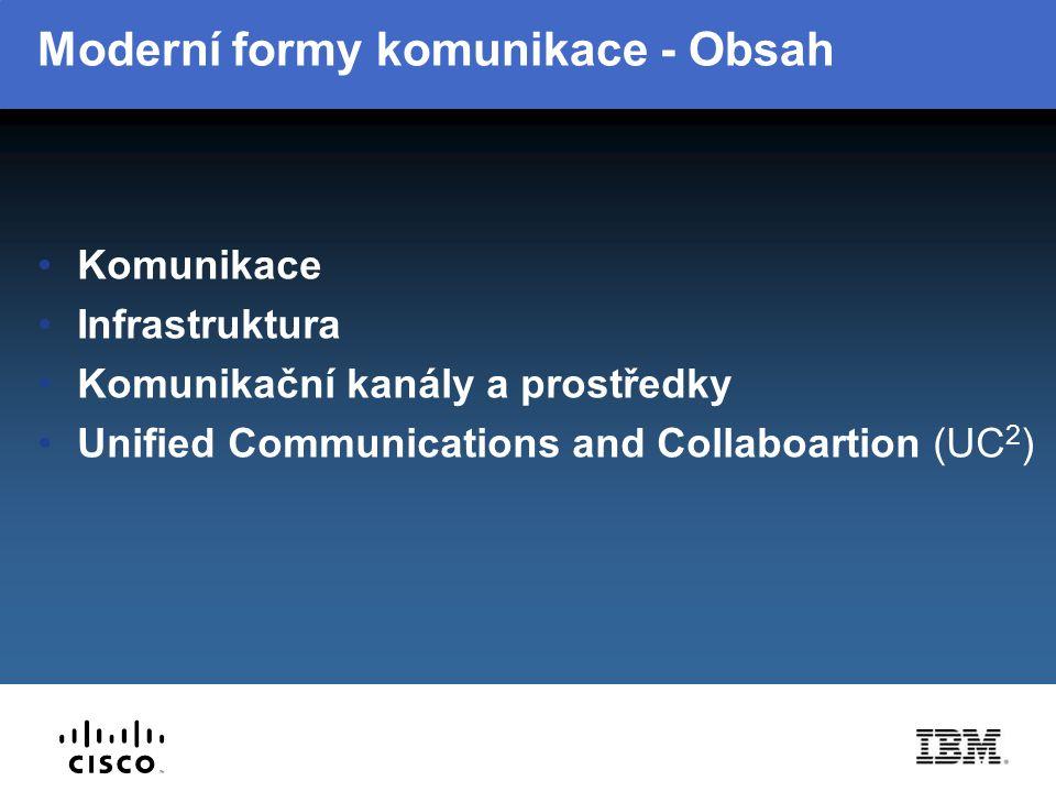 Komunikace Předávání a sdílení informací Forma – textová, hlasová, non-verbální Unified messaging Informace o okamžité komunikační preferenci Unified Communications and Collaboration