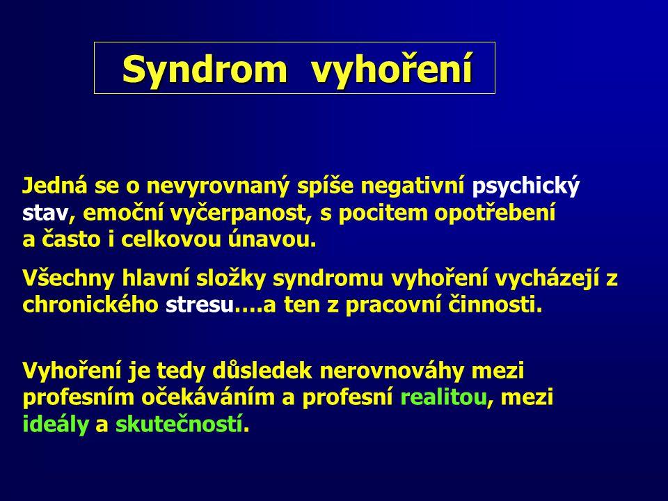 Syndrom vyhoření bývá zejména u profesí, kteří pracují s lidmi (lékaře, zdravotní sestry, učitele, psychology, sociální pracovníky, manažery, policisty …).