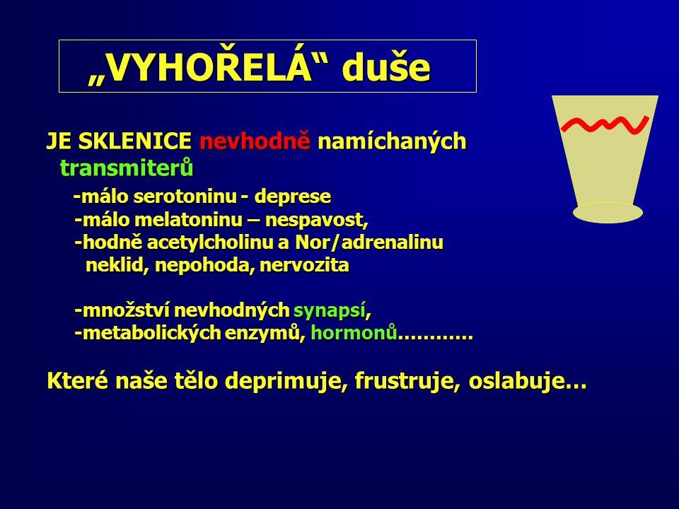 """""""VYHOŘELÁ duše """"VYHOŘELÁ duše JE SKLENICE nevhodně namíchaných transmiterů transmiterů -málo serotoninu - deprese -málo serotoninu - deprese -málo melatoninu – nespavost, -málo melatoninu – nespavost, -hodně acetylcholinu a Nor/adrenalinu -hodně acetylcholinu a Nor/adrenalinu neklid, nepohoda, nervozita neklid, nepohoda, nervozita -množství nevhodných synapsí, -množství nevhodných synapsí, -metabolických enzymů, hormonů………… -metabolických enzymů, hormonů………… Které naše tělo deprimuje, frustruje, oslabuje…"""