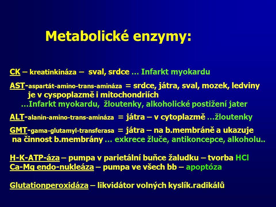 CK – kreatinkináza – sval, srdce … Infarkt myokardu AST- aspartát-amino-trans-amináza = srdce, játra, sval, mozek, ledviny je v cyspoplazmě i mitochon