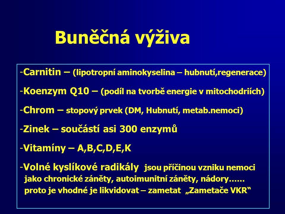 Buněčná výživa -Carnitin – (lipotropní aminokyselina – hubnutí,regenerace) -Koenzym Q10 – (podíl na tvorbě energie v mitochodriích) -Chrom – stopový p