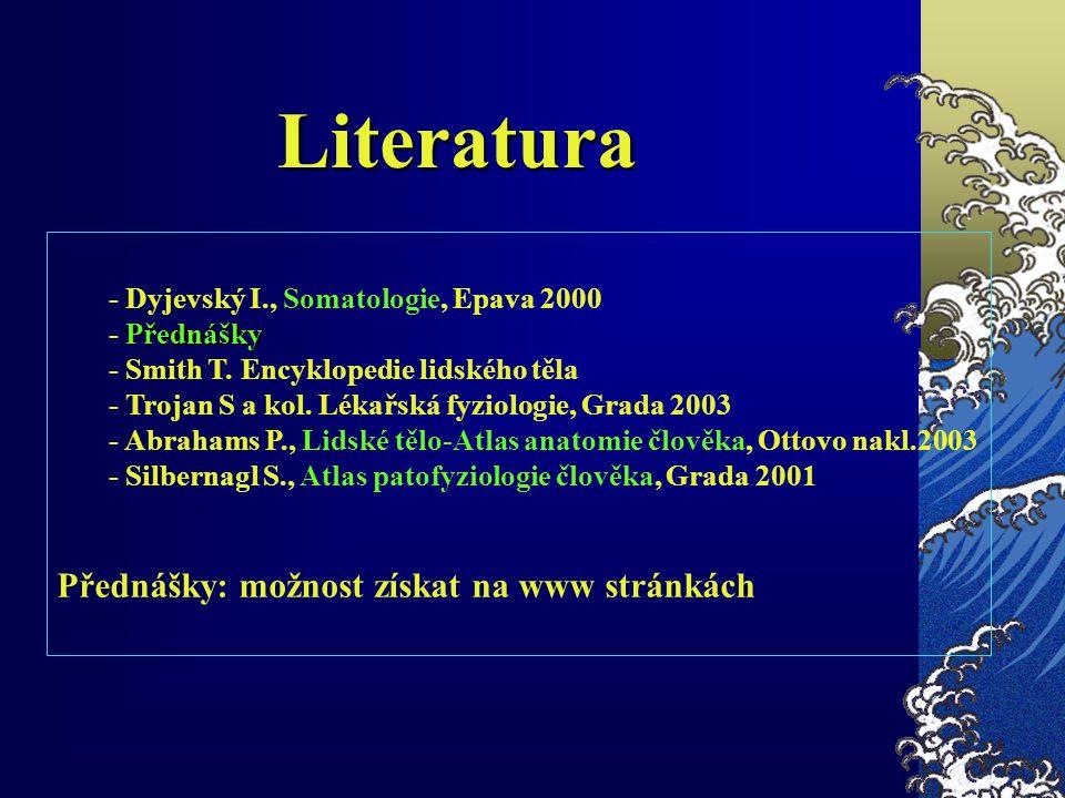 - Dyjevský I., Somatologie, Epava 2000 Přednášky - Přednášky - Smith T. Encyklopedie lidského těla - Trojan S a kol. Lékařská fyziologie, Grada 2003 -