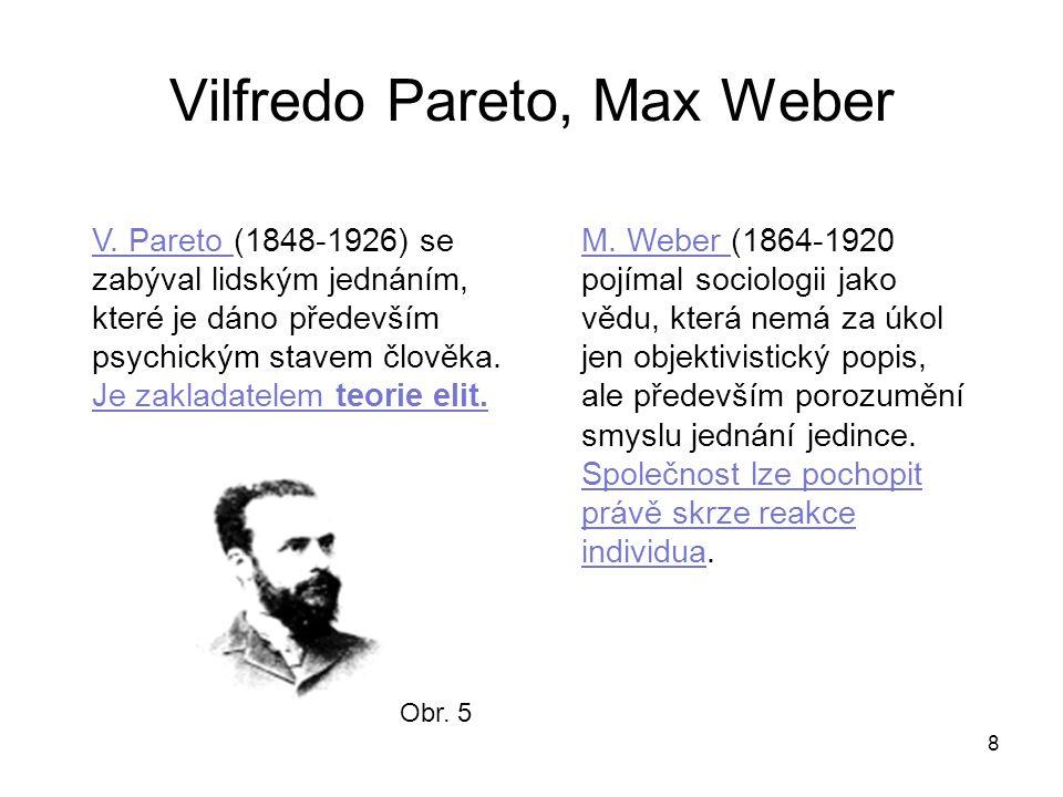 Vilfredo Pareto, Max Weber 8 M. Weber (1864-1920 pojímal sociologii jako vědu, která nemá za úkol jen objektivistický popis, ale především porozumění