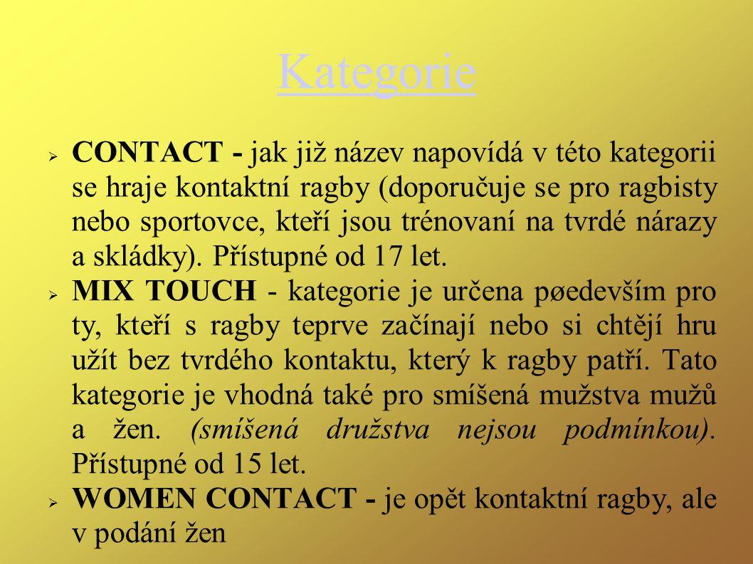 Kategorie  CONTACT - jak již název napovídá v této kategorii se hraje kontaktní ragby (doporučuje se pro ragbisty nebo sportovce, kteří jsou trénovaní na tvrdé nárazy a skládky).
