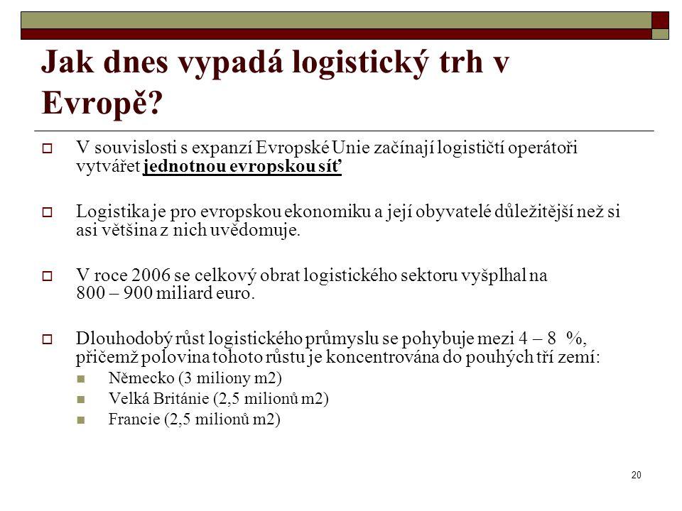 20 Jak dnes vypadá logistický trh v Evropě?  V souvislosti s expanzí Evropské Unie začínají logističtí operátoři vytvářet jednotnou evropskou síť  L