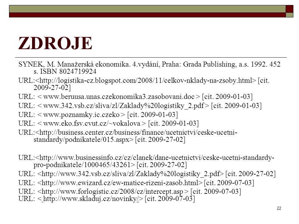 22 ZDROJE SYNEK, M. Manažerská ekonomika. 4.vydání, Praha: Grada Publishing, a.s. 1992. 452 s. ISBN 8024719924 URL: [cit. 2009-27-02] URL: [cit. 2009-