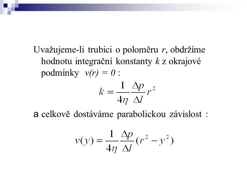 Uvažujeme-li trubici o poloměru r, obdržíme hodnotu integrační konstanty k z okrajové podmínky v(r) = 0 : a celkově dostáváme parabolickou závislost :
