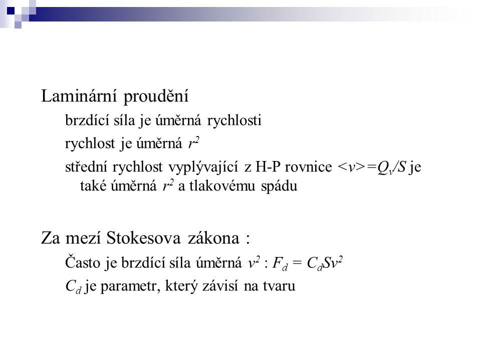 Laminární proudění brzdící síla je úměrná rychlosti rychlost je úměrná r 2 střední rychlost vyplývající z H-P rovnice =Q v /S je také úměrná r 2 a tla
