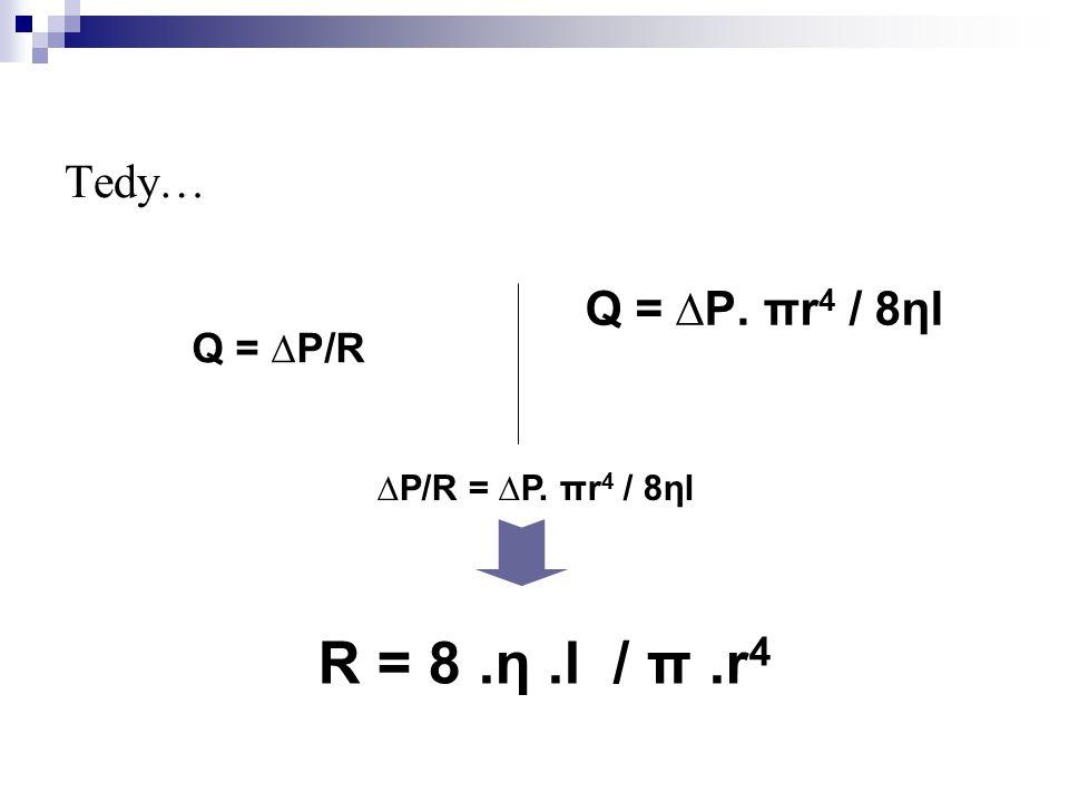 Tedy… Q = ∆P/R Q = ∆P. πr 4 / 8ηl ∆P/R = ∆P. πr 4 / 8ηl R = 8.η.l / π.r 4
