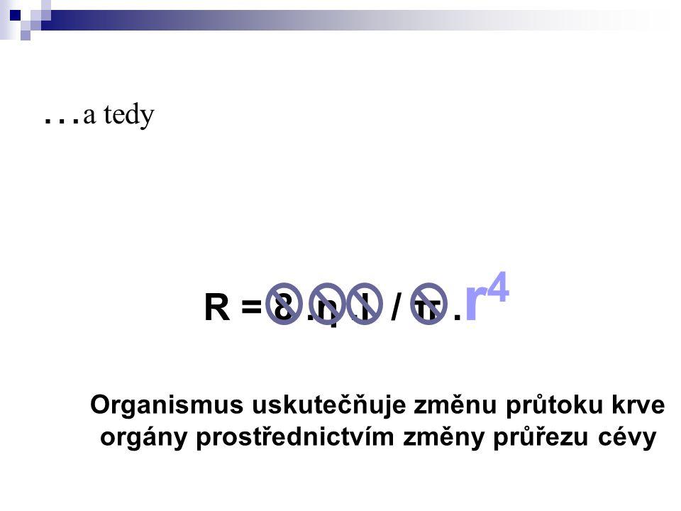 … a tedy R = 8.η.l / π. r 4 Organismus uskutečňuje změnu průtoku krve orgány prostřednictvím změny průřezu cévy