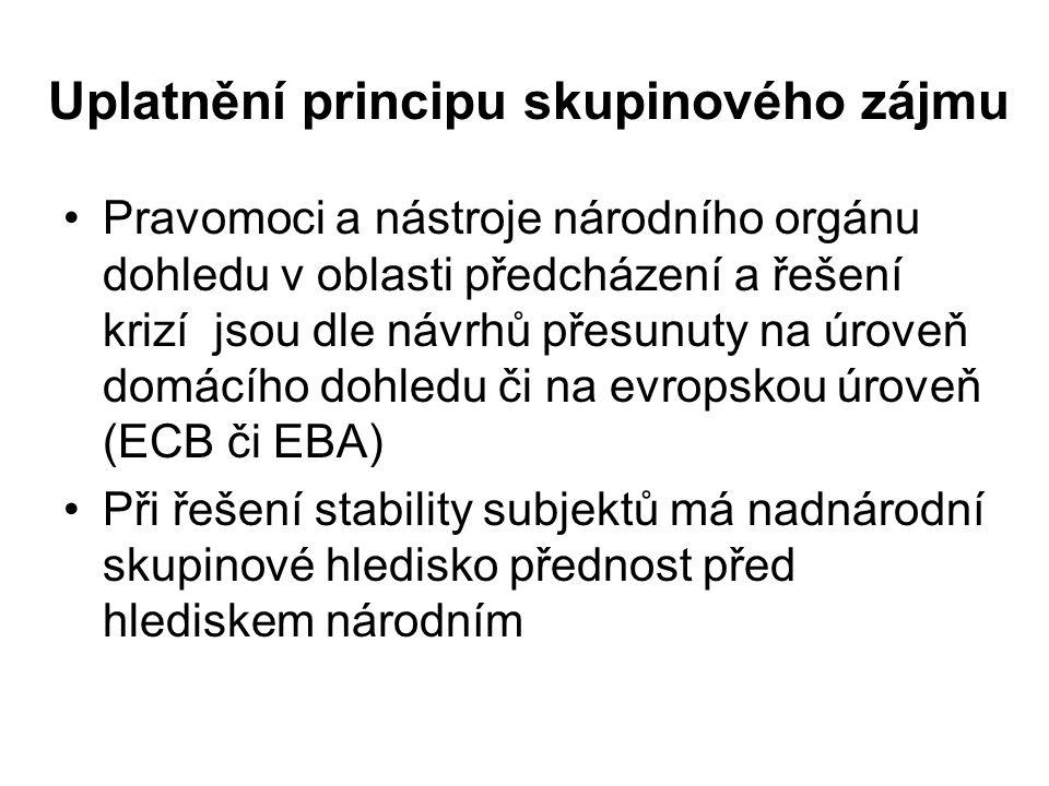 Uplatnění principu skupinového zájmu Pravomoci a nástroje národního orgánu dohledu v oblasti předcházení a řešení krizí jsou dle návrhů přesunuty na ú