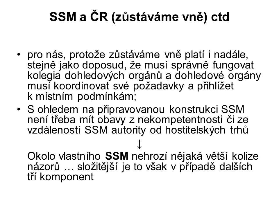 SSM a ČR (zůstáváme vně) ctd pro nás, protože zůstáváme vně platí i nadále, stejně jako doposud, že musí správně fungovat kolegia dohledových orgánů a