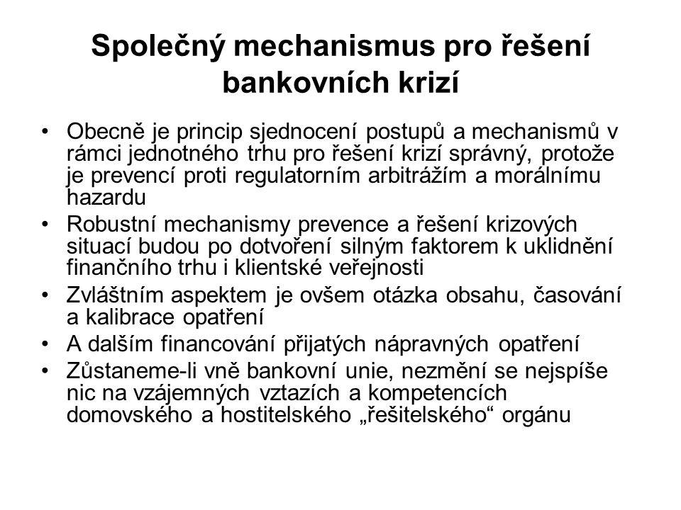 Společný mechanismus pro řešení bankovních krizí Obecně je princip sjednocení postupů a mechanismů v rámci jednotného trhu pro řešení krizí správný, p