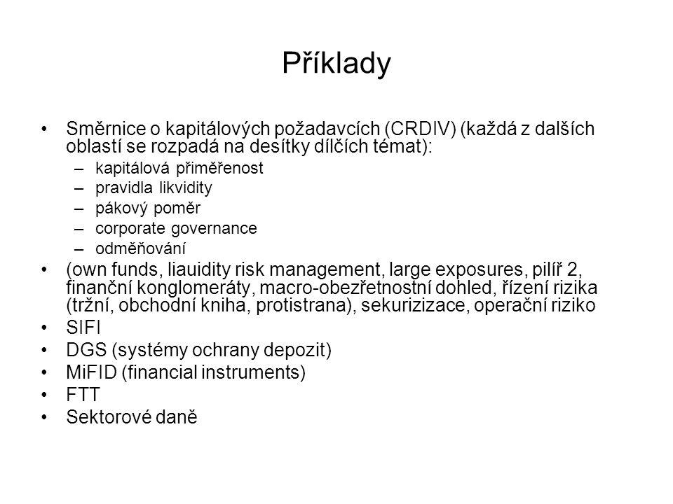 Příklady Směrnice o kapitálových požadavcích (CRDIV) (každá z dalších oblastí se rozpadá na desítky dílčích témat): –kapitálová přiměřenost –pravidla