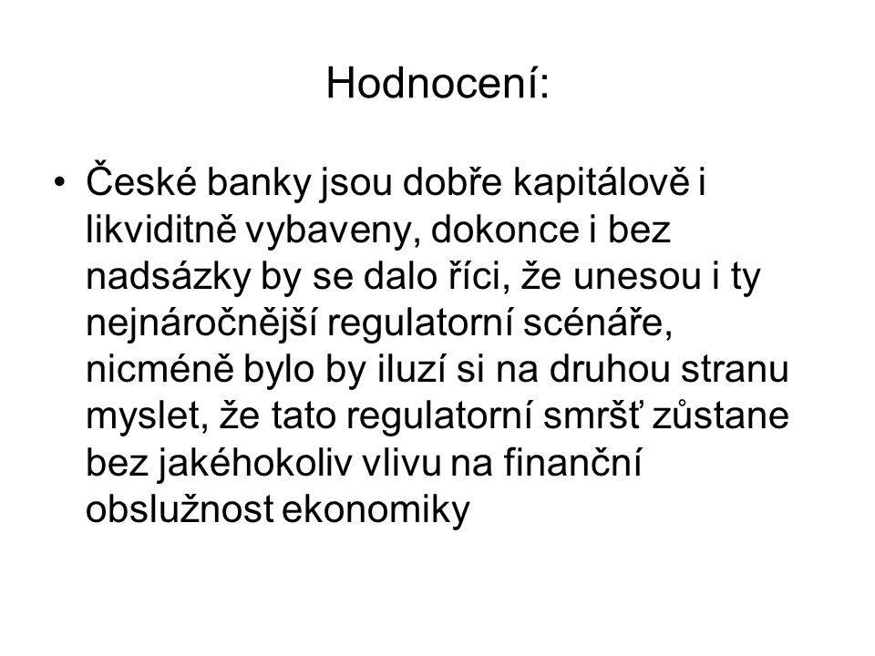 Hodnocení: České banky jsou dobře kapitálově i likviditně vybaveny, dokonce i bez nadsázky by se dalo říci, že unesou i ty nejnáročnější regulatorní s