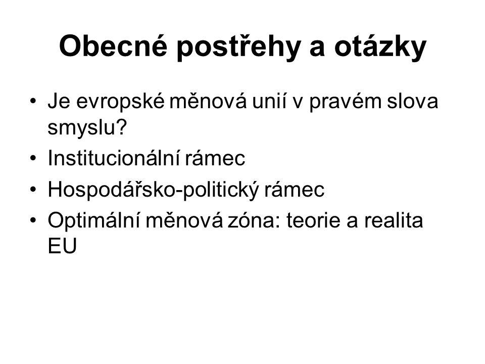 Obecné postřehy a otázky Je evropské měnová unií v pravém slova smyslu? Institucionální rámec Hospodářsko-politický rámec Optimální měnová zóna: teori