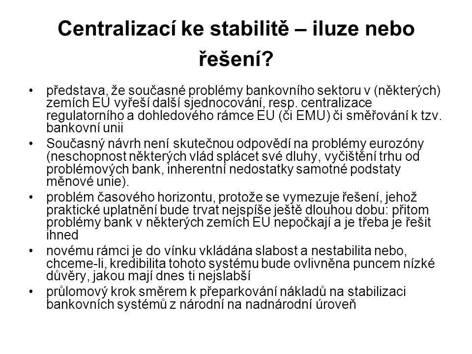 Centralizací ke stabilitě – iluze nebo řešení? představa, že současné problémy bankovního sektoru v (některých) zemích EU vyřeší další sjednocování, r