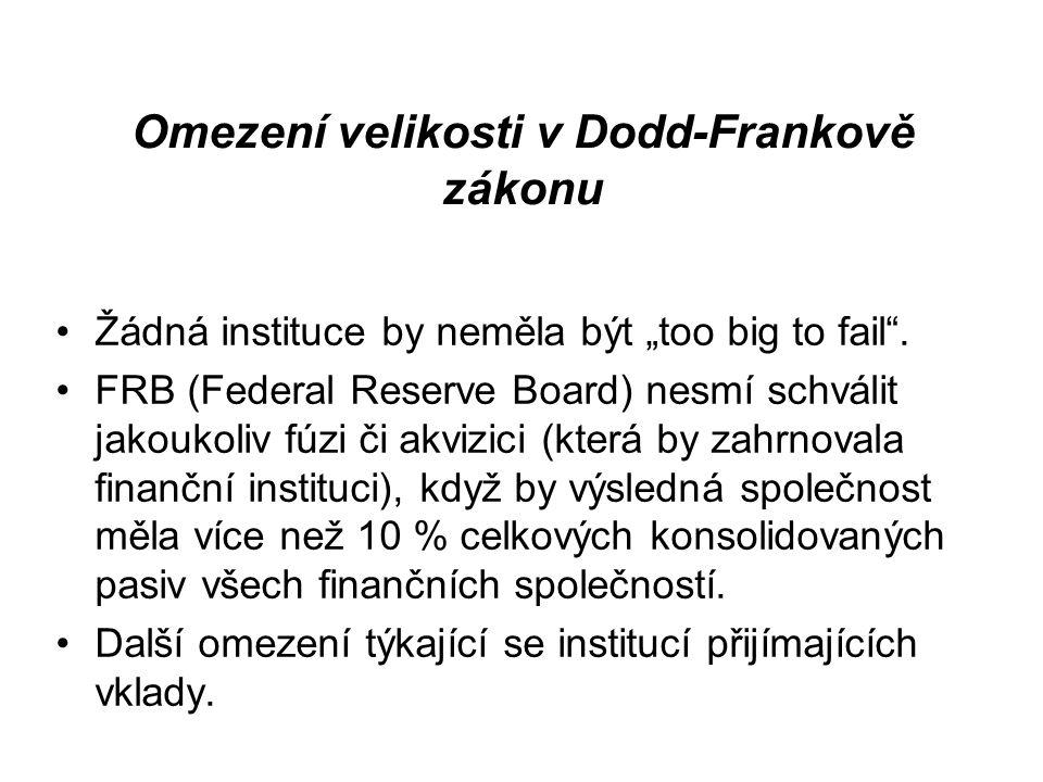 """Omezení velikosti v Dodd-Frankově zákonu Žádná instituce by neměla být """"too big to fail"""". FRB (Federal Reserve Board) nesmí schválit jakoukoliv fúzi č"""