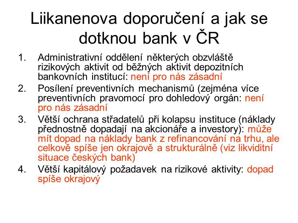 Liikanenova doporučení a jak se dotknou bank v ČR 1.Administrativní oddělení některých obzvláště rizikových aktivit od běžných aktivit depozitních ban