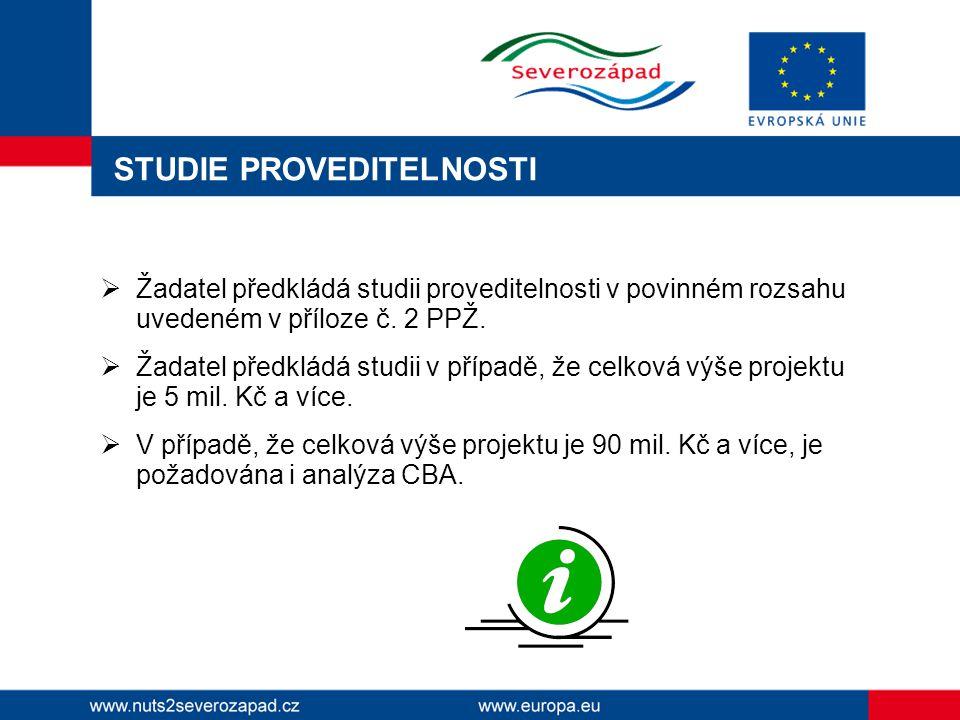 STUDIE PROVEDITELNOSTI  Žadatel předkládá studii proveditelnosti v povinném rozsahu uvedeném v příloze č.