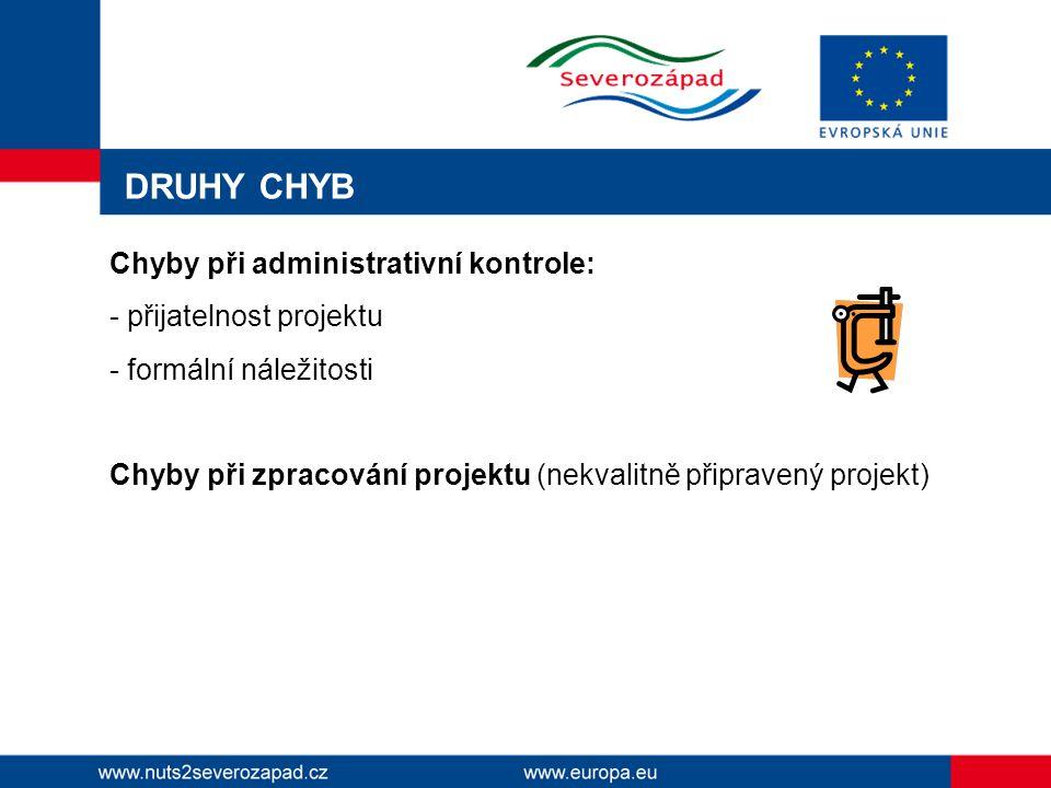 DRUHY CHYB Chyby při administrativní kontrole: - přijatelnost projektu - formální náležitosti Chyby při zpracování projektu (nekvalitně připravený projekt)