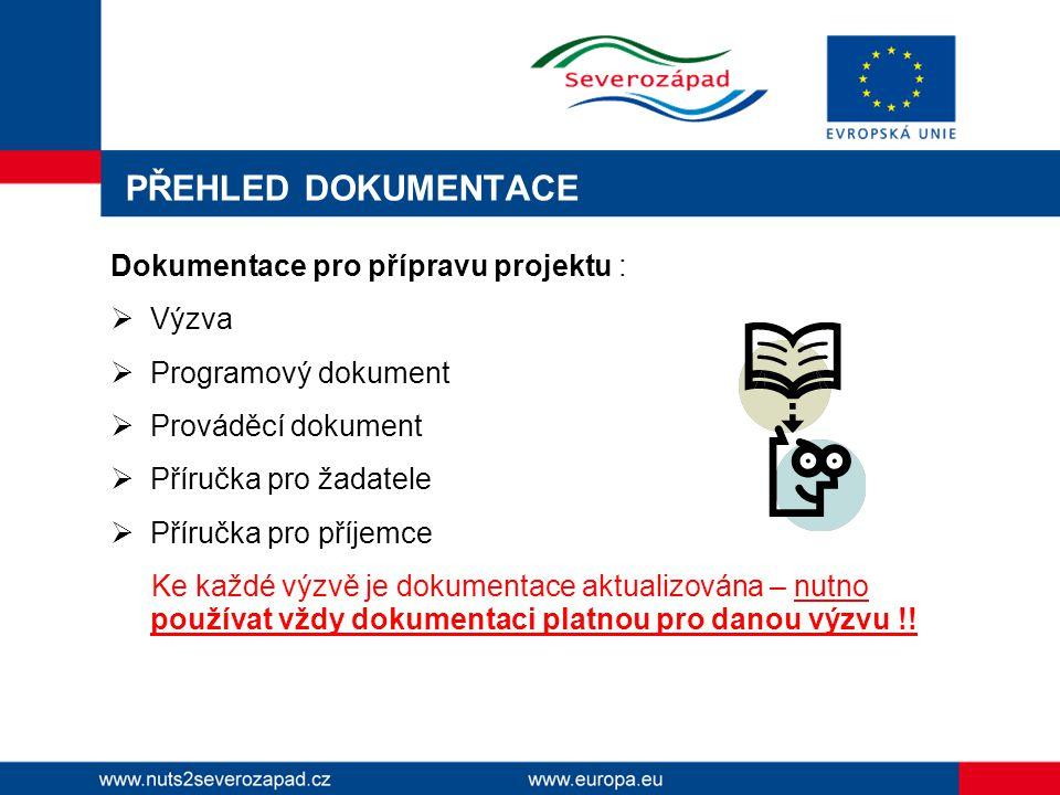 PŘEHLED DOKUMENTACE Dokumentace pro přípravu projektu :  Výzva  Programový dokument  Prováděcí dokument  Příručka pro žadatele  Příručka pro příjemce Ke každé výzvě je dokumentace aktualizována – nutno používat vždy dokumentaci platnou pro danou výzvu !!