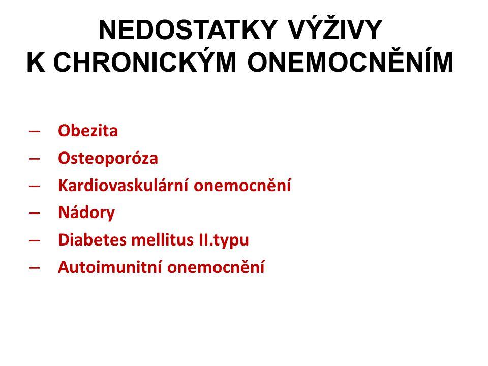 NEDOSTATKY VÝŽIVY K CHRONICKÝM ONEMOCNĚNÍM – Obezita – Osteoporóza – Kardiovaskulární onemocnění – Nádory – Diabetes mellitus II.typu – Autoimunitní o